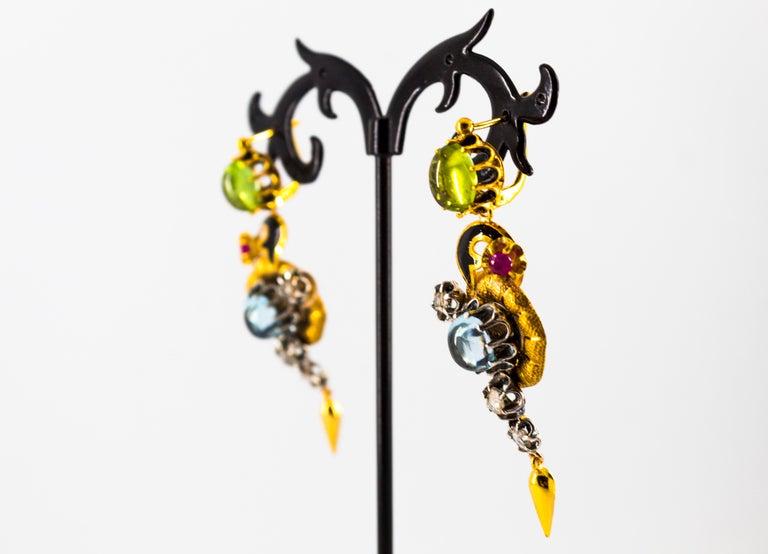 11.60 Carat White Diamond Ruby Tourmaline Topaz Yellow Gold Flowers Earrings For Sale 6