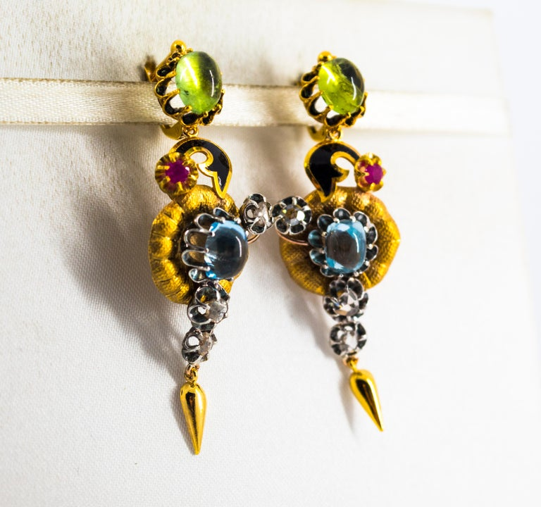 11.60 Carat White Diamond Ruby Tourmaline Topaz Yellow Gold Flowers Earrings In New Condition For Sale In Naples, IT
