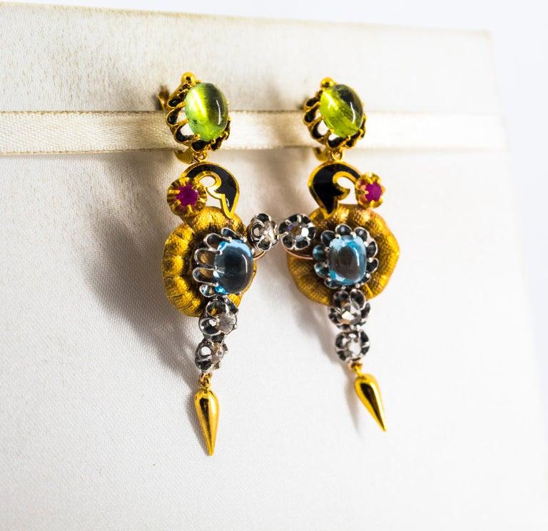Women's or Men's 11.60 Carat White Diamond Ruby Tourmaline Topaz Yellow Gold Flowers Earrings For Sale
