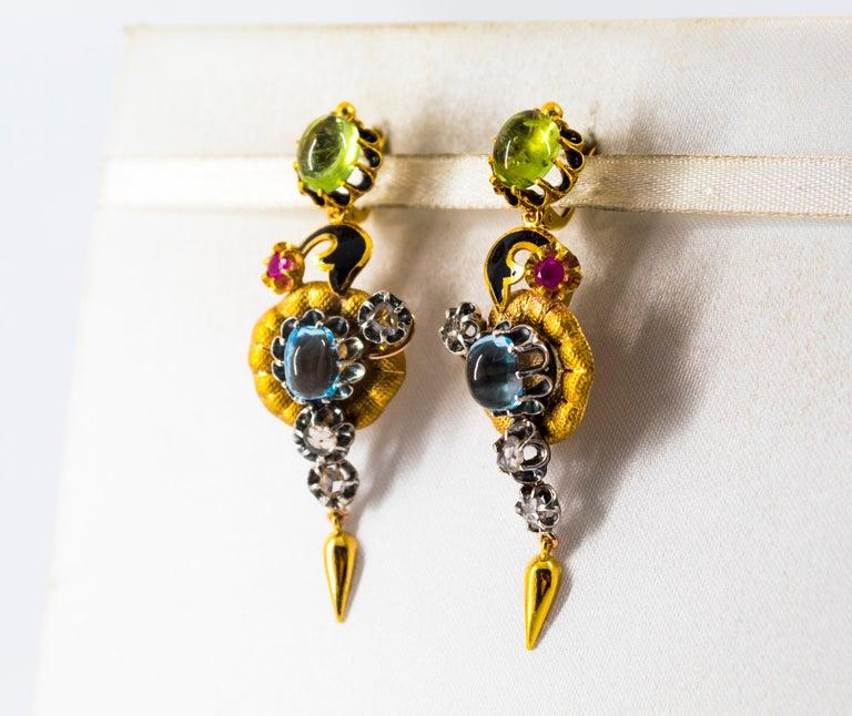 11.60 Carat White Diamond Ruby Tourmaline Topaz Yellow Gold Flowers Earrings For Sale 1
