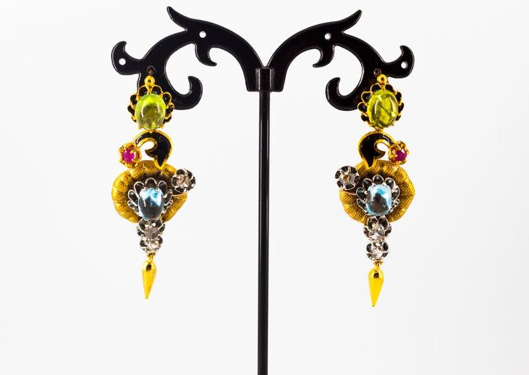 11.60 Carat White Diamond Ruby Tourmaline Topaz Yellow Gold Flowers Earrings For Sale 2