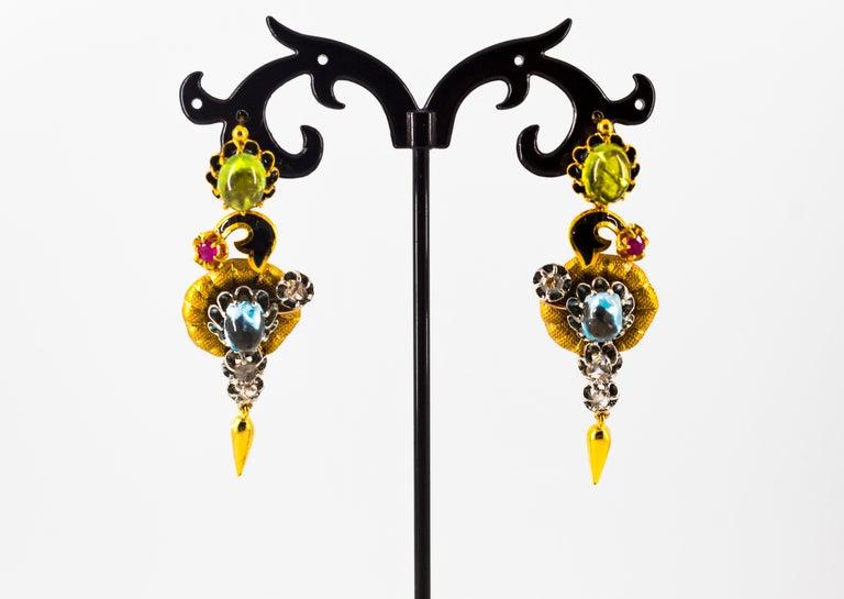11.60 Carat White Diamond Ruby Tourmaline Topaz Yellow Gold Flowers Earrings For Sale 3