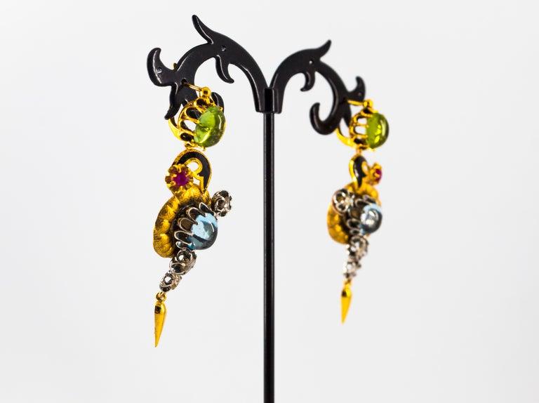 11.60 Carat White Diamond Ruby Tourmaline Topaz Yellow Gold Flowers Earrings For Sale 4