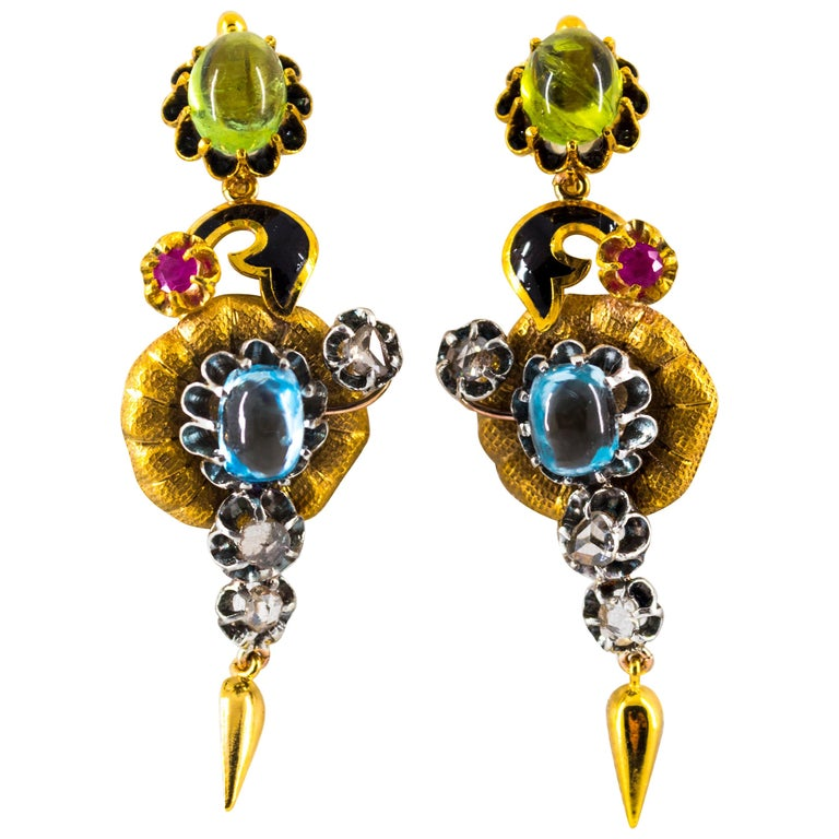 11.60 Carat White Diamond Ruby Tourmaline Topaz Yellow Gold Flowers Earrings For Sale