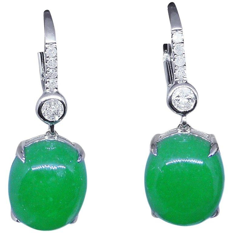 Round Cut 11.61 Carat Jade Earrings Diamond Drop 18 Carat White Gold For Sale