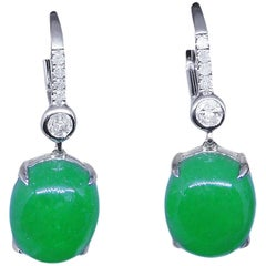 11.61 Carat Jade Earrings Diamond Drop 18 Carat White Gold