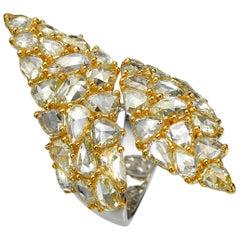 11.62 Carat Rose Cut Yellow Diamond 18 Karat Yellow Gold Cocktail Ring