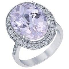 11.63 Carat Kunzite Diamond Cocktail White Gold Ring