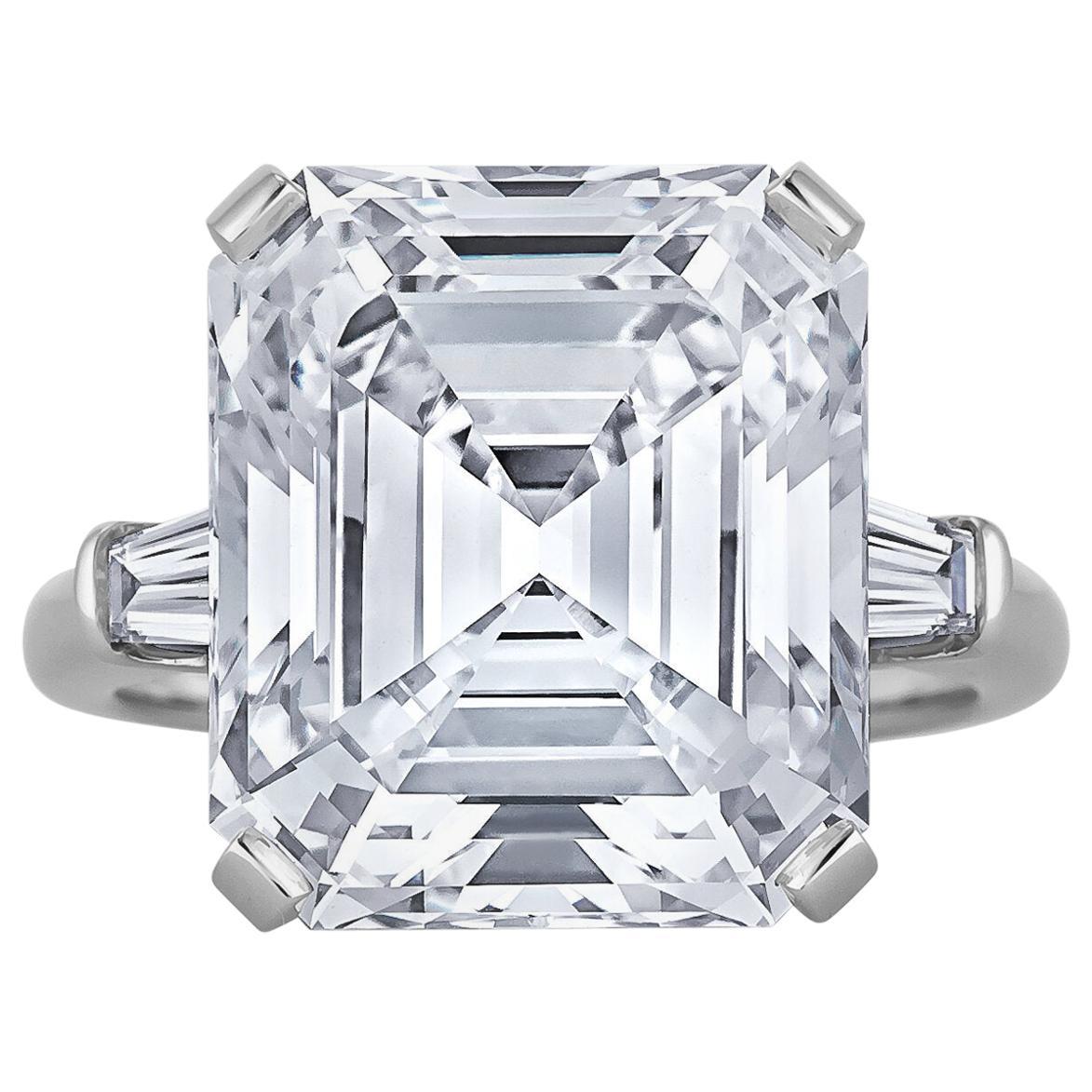 11.64 Carat Emerald Cut Diamond Engagement Ring
