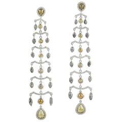 11.64 Carat Raw Natural Diamond 18 Karat Gold Chandelier Earrings