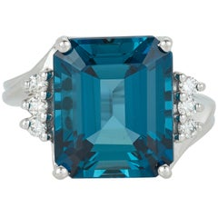 11.66 Carat Emerald Cut Blue Topaz Diamond Fashion Statement Ring 14 Karat Gold