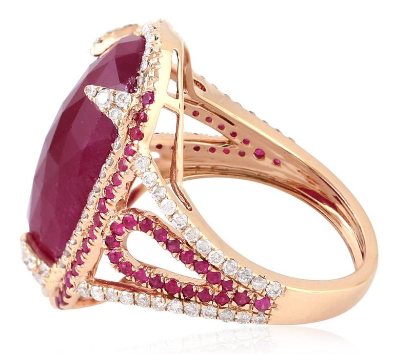 Contemporary 11.67 Carat Ruby Diamond Cocktail Ring For Sale