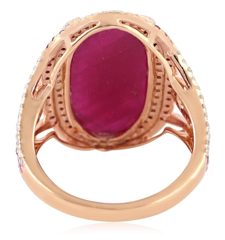 11.67 Carat Ruby Diamond Cocktail Ring In New Condition For Sale In Hoffman Estate, IL