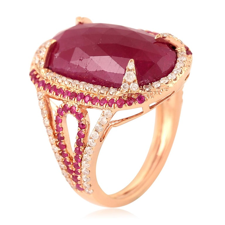 Women's 11.67 Carat Ruby Diamond Cocktail Ring For Sale