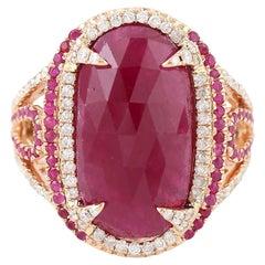 11.67 Carat Ruby Diamond Cocktail Ring