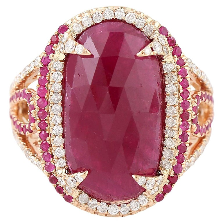 11.67 Carat Ruby Diamond Cocktail Ring For Sale
