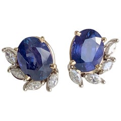 11.69 Carat Natural Untreated Color-Change Sapphire and Diamond Earrings