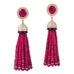 116.9 Carat Ruby Diamond 18 Karat Gold Drop Tassel Earrings