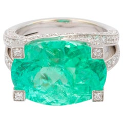 11.69 Carat Schullin Neon Blue-Green Paraiba Tourmaline Cocktail Ring
