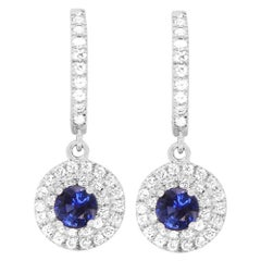 1.16Ct Blue Sapphire and Diamond Dangle Drop Double Halo Earrings 14K White Gold