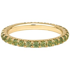 1.16tw Green Natural Sapphire and 14 Karat Green Gold Stacking Band