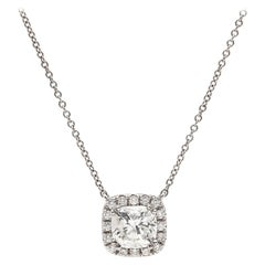 1.17 Carat Cushion Cut Diamond Necklace
