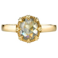 1.17 Carat Cushion Shaped Rose Cut Diamond Set in an 18k Karat Gold Mounting
