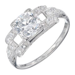 1.17 Carat Diamond Platinum Art Deco Engagement Ring