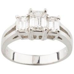 1.17 Carat Emerald Cut Diamond 18 Karat White Gold Three-Stone Engagement Ring
