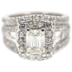 1.17 Carat Emerald Cut Diamond Engagement Ring 14 Karat White Gold