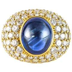 11.7 Carat Natural Blue Sapphire 18 Karat Yellow Gold Diamond Cocktail Ring