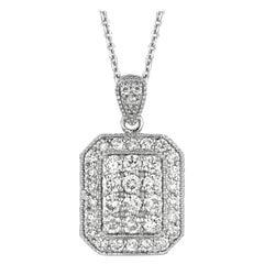 1.17 Carat Natural Diamond Fashion Necklace 14 Karat White Gold G SI Chain