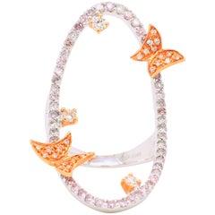 1.17 Carat Natural Fancy Pink Diamond Shine Ring Dazzling Butterflies