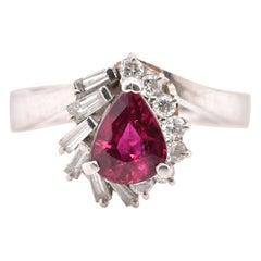 1.17 Carat Natural Ruby and Diamond Antique-Ring Set in Platinum