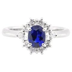 1.17 Carat, Natural, Sapphire and Diamond Halo Ring Set in Platinum