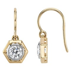1.17 Carat Old European Cut Diamonds Set in 18 Karat Gold and Platinum Earrings