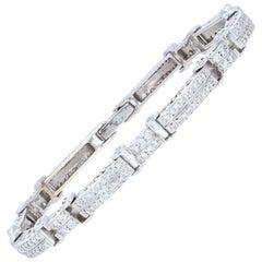 1.17 Carat Round Brilliant Diamond Bracelet, 18 Karat White Gold Link