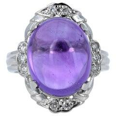 11.70 Carat Amethyst Diamond Vintage Style 14 Karat White Gold Ring