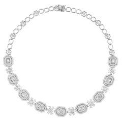 11.70 Carat Diamond 18 Karat White Gold Statement Necklace
