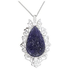 11.70 Pear Shaped Carved Natural Iolite and White Diamond Pendant 14K White Gold