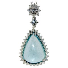 11.71 Carat Aquamarine Diamond Pendant Necklace, 14 Karat Gold