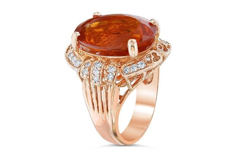 Modern 11.71 Carat Fire Opal Diamond 14 Karat Rose Gold Cocktail Ring For Sale