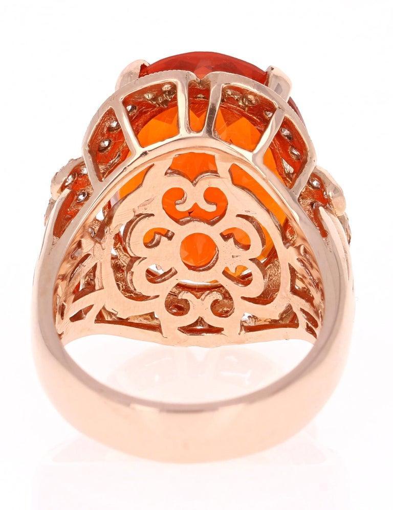 Women's 11.71 Carat Fire Opal Diamond 14 Karat Rose Gold Cocktail Ring For Sale