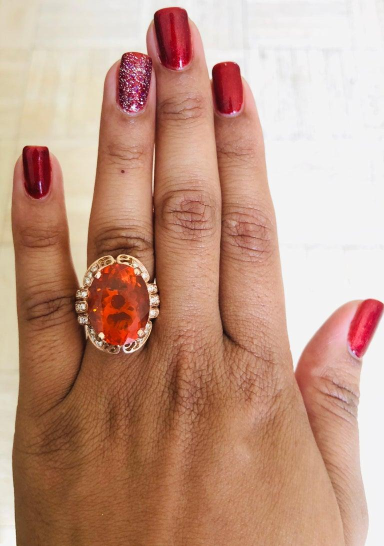 11.71 Carat Fire Opal Diamond 14 Karat Rose Gold Cocktail Ring For Sale 1