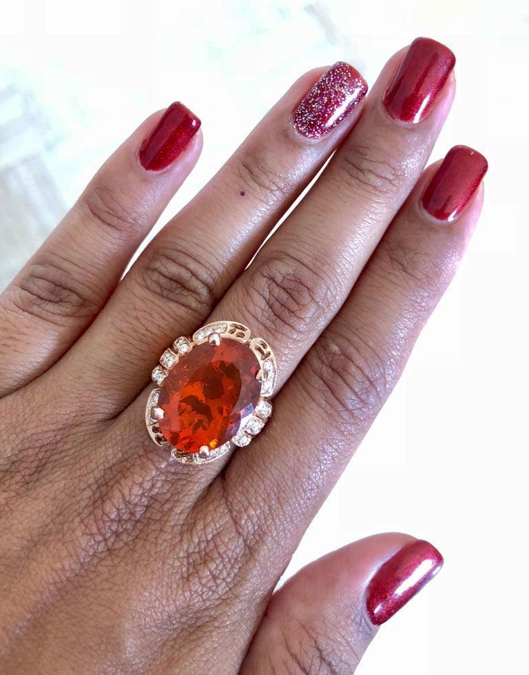 11.71 Carat Fire Opal Diamond 14 Karat Rose Gold Cocktail Ring For Sale 2