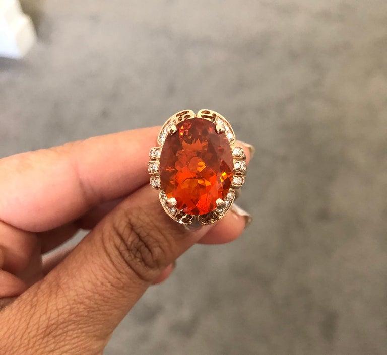11.71 Carat Fire Opal Diamond 14 Karat Rose Gold Cocktail Ring For Sale 3