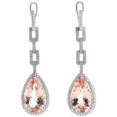 11.71 Carat Morganite and Diamonds Dangle Earrings in 18 Karat White Gold