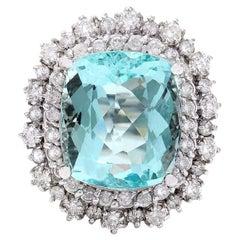 11.71 Carat Natural Aquamarine 18 Karat Solid White Gold Diamond Ring