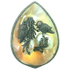 117.31 Ct Mother of Pearl Birds Pendant in Oxidized Sterling Silver,14Kt Gold