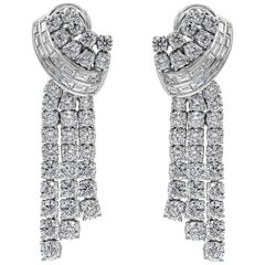 11.74 Carat Baguette and Round Diamond Drop Earrings